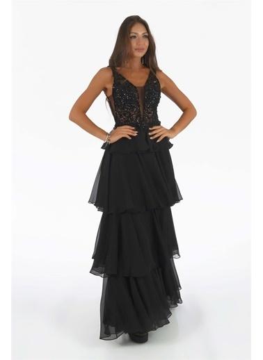 Carmen Işlemeli Eteği Kat Kat Uzun Abiye Siyah